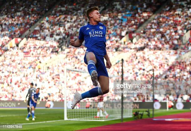 Harvey Barnes of Leicester City celebrates after scoring his team's second goal during the Premier League match between West Ham United and Leicester...