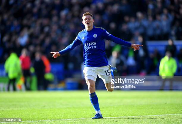 Harvey Barnes of Leicester City celebrates after scoring his team's first goal during the Premier League match between Leicester City and Chelsea FC...