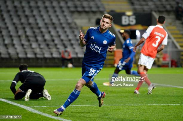 Harvey Barnes of Leicester City celebrates after scoring their sides first goal during the UEFA Europa League Group G stage match between SC Braga...