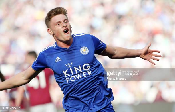 Harvey Barnes of Leicester City celebrates after scoring to make it 22 during the Premier League match between West Ham United and Leicester City at...