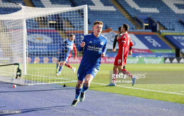 Harvey Barnes of Leicester City celebrates after scoring to make it 3-1 during the Premier League match between Leicester City and Liverpool at The...