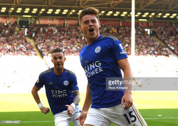 Harvey Barnes of Leicester City celebrates scoring his team's second goal during the Premier League match between Sheffield United and Leicester City...