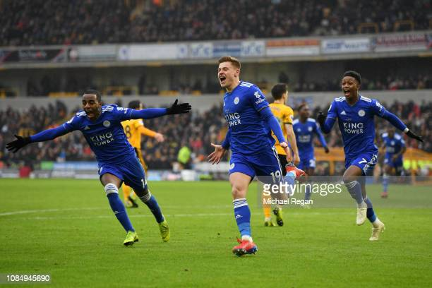 Harvey Barnes of Leicester City celebrates with teammates after scoring his teams second goal during the Premier League match between Wolverhampton...