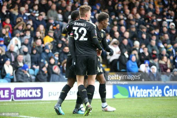 Harvey Barnes of Leicester City congratulates Kelechi Iheanacho of Leicester City after he scores to make it 03 during The Emirates FA Cup Fourth...