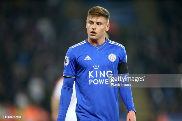 Harvey Barnes of Leicester City during the Premier League match between Leicester City and Crystal Palace at The King Power Stadium on February 23rd...