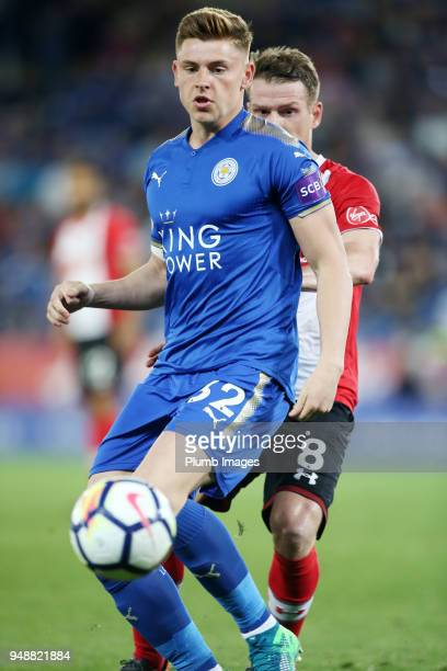 Harvey Barnes of Leicester City during the Premier League match between Leicester City and Southampton at King Power Stadium on April 19th 2018 in...