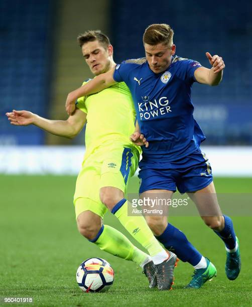 Harvey Barnes of Leicester City holds off Timi Max Elsnik of Derby County during the Premier league 2 match between Leicester City and Derby County...