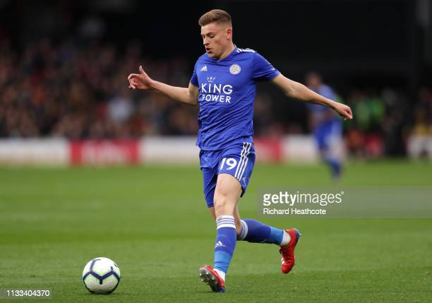 Harvey Barnes of Leicester City in action during the Premier League match between Watford FC and Leicester City at Vicarage Road on March 03 2019 in...