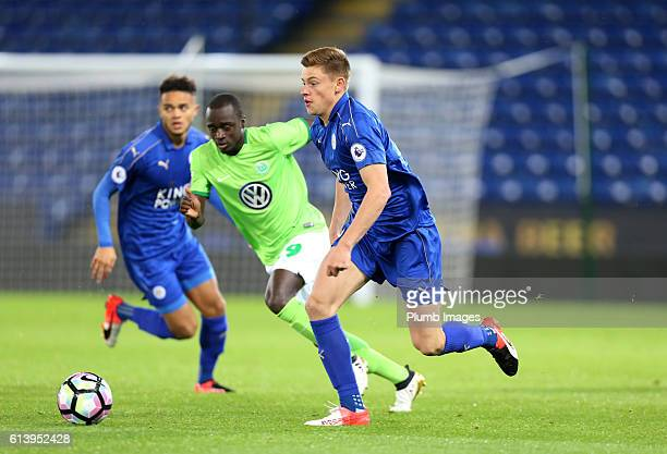 Harvey Barnes of Leicester City in action with Amara Conde of VFL Wolfsburg during the Premier League International Cup match between Leicester City...