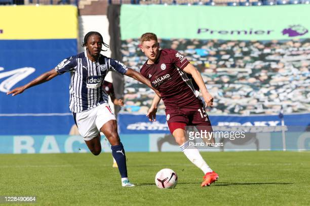 Harvey Barnes of Leicester City in action with Romaine Sawyers of West Bromwich Albion during the Premier League match between West Bromwich Albion...