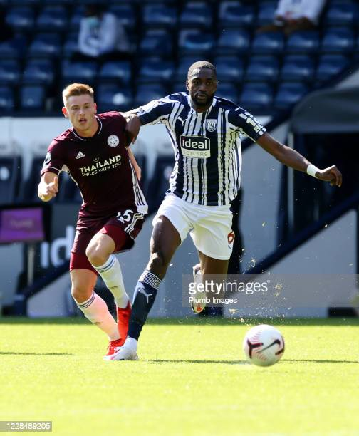 Harvey Barnes of Leicester City in action with Semi Ajayi of West Bromwich Albion during the Premier League match between West Bromwich Albion and...
