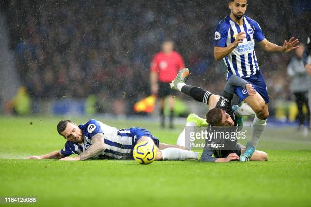 Harvey Barnes of Leicester City in action with Shane Duffy of Brighton & Hove Albion and Martin Montoya of Brighton & Hove Albion during the Premier...
