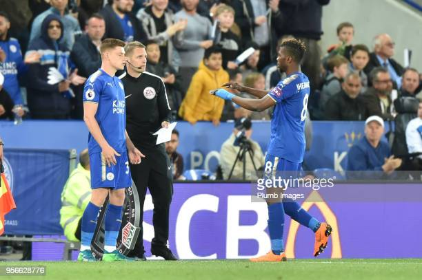 Harvey Barnes of Leicester City is introduced late in the game during the Premier League match between Leicester City and Arsenal at The King Power...