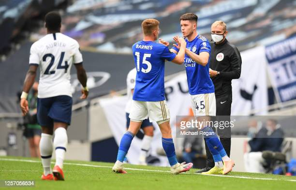 Harvey Barnes of Leicester City is replaced by George Hirst of Leicester City who makes his deut during the Premier League match between Tottenham...
