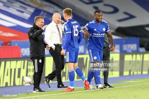 Harvey Barnes of Leicester City is replaced by Wes Morgan of Leicester City during the Premier League match between Leicester City and Burnley at The...