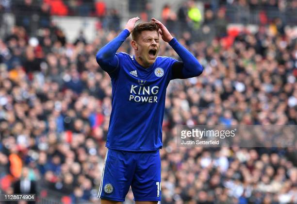 Harvey Barnes of Leicester City reacts after missing a chance during the Premier League match between Tottenham Hotspur and Leicester City at Wembley...