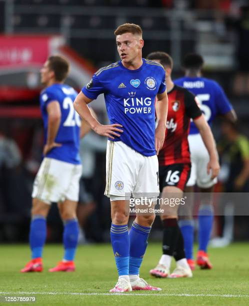 Harvey Barnes of Leicester City reacts at the full time whistle during the Premier League match between AFC Bournemouth and Leicester City at...
