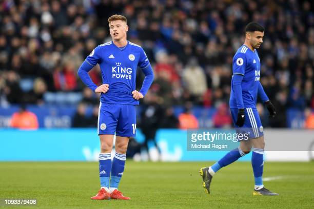 Harvey Barnes of Leicester City reacts during the Premier League match between Leicester City and Manchester United at The King Power Stadium on...