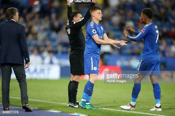Harvey Barnes of Leicester City replace Kelechi Iheanacho of Leicester City during the Premier League match between Leicester City and Southampton at...