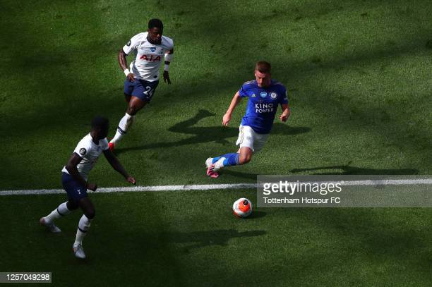 Harvey Barnes of Leicester City runs with the ball during the Premier League match between Tottenham Hotspur and Leicester City at Tottenham Hotspur...