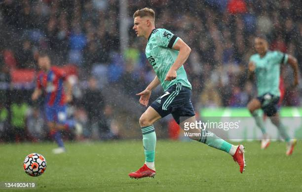 Harvey Barnes of Leicester City runs with the ball during the Premier League match between Crystal Palace and Leicester City at Selhurst Park on...