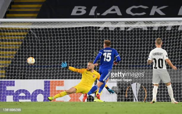 Harvey Barnes of Leicester City scores his sides second goal during the UEFA Europa League Group G stage match between Leicester City and Zorya...