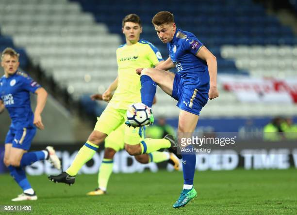 Harvey Barnes of Leicester City scores his sides second goal during the Premier league 2 match between Leicester City and Derby County at King Power...
