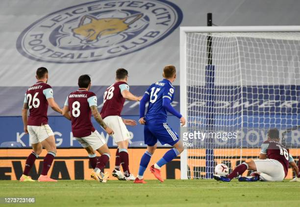 Harvey Barnes of Leicester City scores his team's first goal during the Premier League match between Leicester City and Burnley at The King Power...