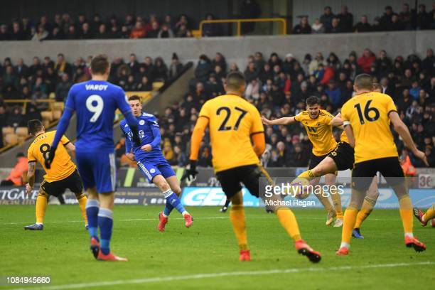 Harvey Barnes of Leicester City scores his team's second goal during the Premier League match between Wolverhampton Wanderers and Leicester City at...