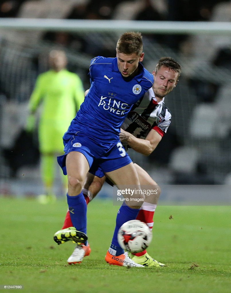 Harvey Barnes of Leicester City shields the ball during the checkatrade Trophy match between Grimsby Town and Leicester City at Blundell Park on September 04, 2016 in Grimsby, United Kingdom.