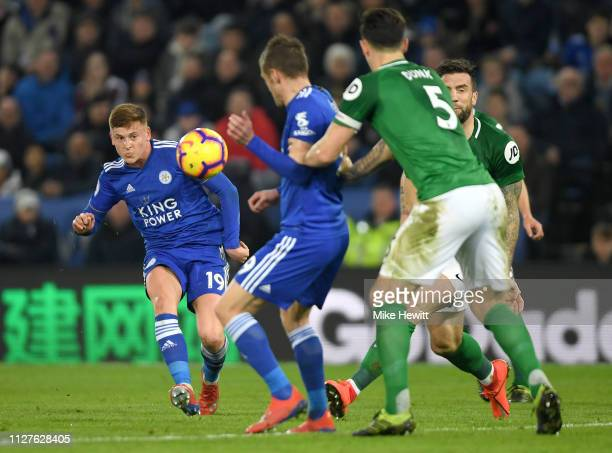 Harvey Barnes of Leicester City shoots during the Premier League match between Leicester City and Brighton Hove Albion at The King Power Stadium on...