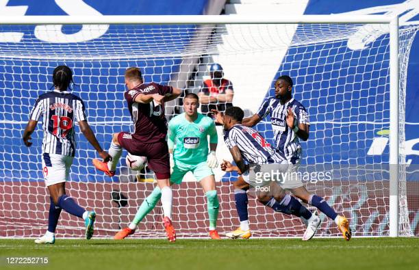 Harvey Barnes of Leicester City shoots during the Premier League match between West Bromwich Albion and Leicester City at The Hawthorns on September...