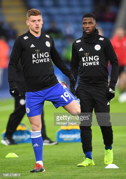 Harvey Barnes of Leicester City warms up prior to the Premier League match between Leicester City and Southampton FC at The King Power Stadium on...
