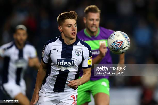 Harvey Barnes of West Bromwich Albion and Adam Webster of Bristol City during the Sky Bet Championship match between West Bromwich Albion and Bristol...
