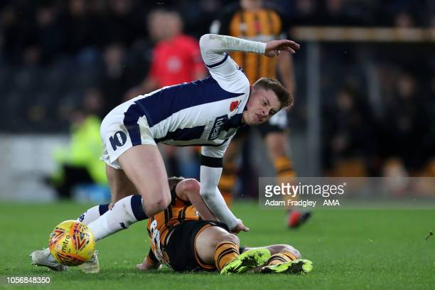 Harvey Barnes of West Bromwich Albion and Daniel Batty of Hull City during the Sky Bet Championship match between Hull City and West Bromwich Albion...