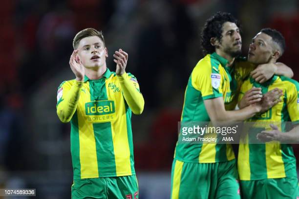 Harvey Barnes of West Bromwich Albion applauds the travelling West Bromwich Albion Fans at the end of the match during the Sky Bet Championship match...