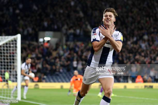 Harvey Barnes of West Bromwich Albion celebrates after scoring a goal to make it 41 during the Sky Bet Championship match between West Bromwich...