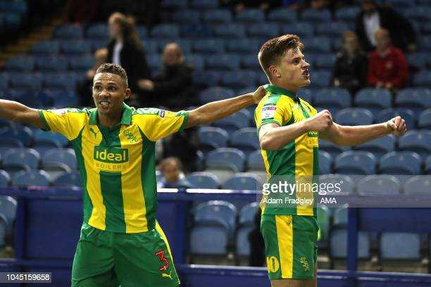 Harvey Barnes of West Bromwich Albion celebrates after scoring a goal to make it 22 with Kieran Gibbs of West Bromwich Albion during the Sky Bet...