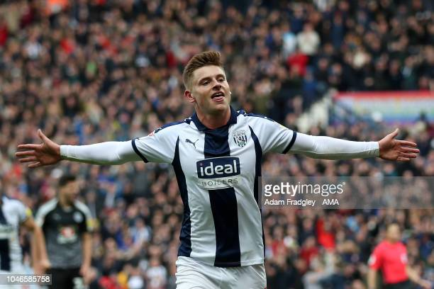 Harvey Barnes of West Bromwich Albion celebrates after scoring a goal to make it 31 during the Sky Bet Championship fixture between West Bromwich...