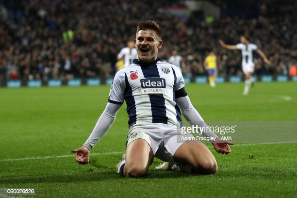 Harvey Barnes of West Bromwich Albion celebrates after scoring a goal to make it 30 during the Sky Bet Championship match between West Bromwich...