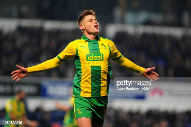 Harvey Barnes of West Bromwich Albion celebrates after scoring a goal to make it 02 during to the Sky Bet Championship match between Ipswich Town and...