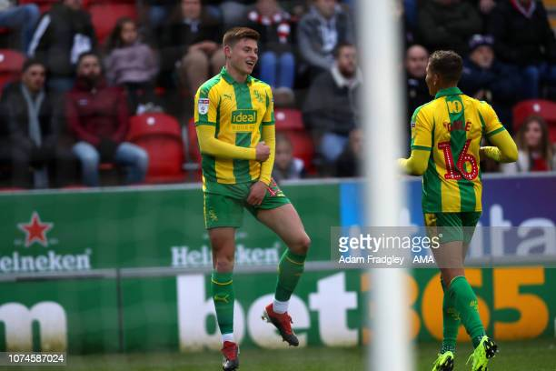 Harvey Barnes of West Bromwich Albion celebrates after scoring a goal to make it 02 with Dwight Gayle of West Bromwich Albion during the Sky Bet...