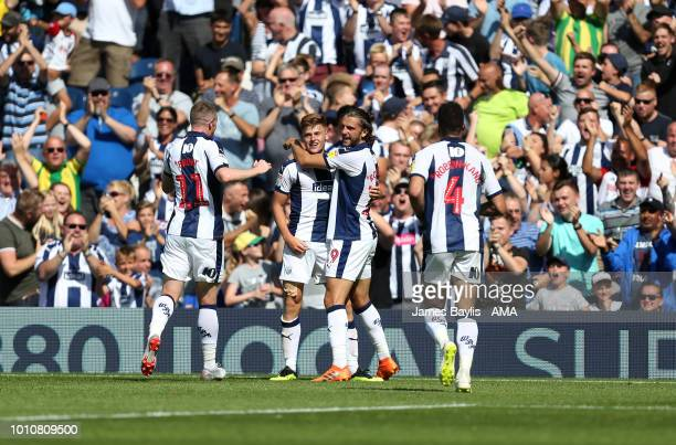 Harvey Barnes of West Bromwich Albion celebrates with his team mates after scoring a goal to make it 11 during the Sky Bet Championship match between...