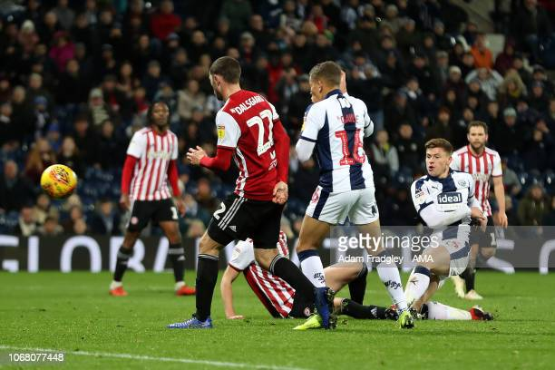 Harvey Barnes of West Bromwich Albion scores a goal to make it 10 during the Sky Bet Championship match between West Bromwich Albion and Brentford at...