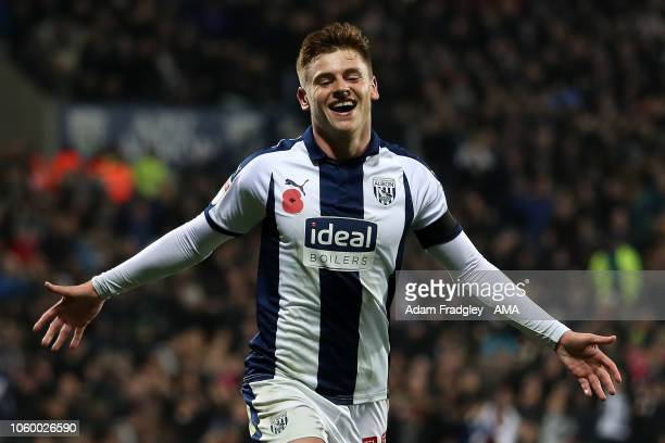 Harvey Barnes of West Bromwich Albion scores a goal to make it 30 during the Sky Bet Championship match between West Bromwich Albion and Leeds United...