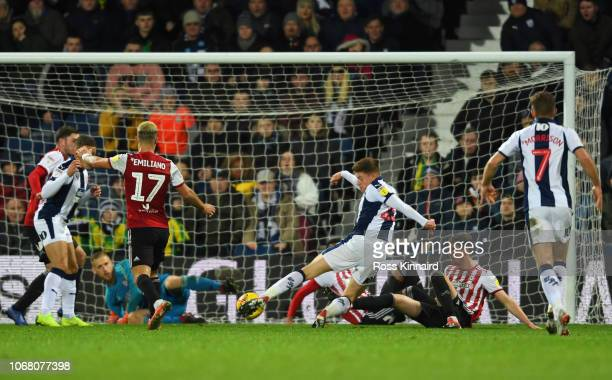 Harvey Barnes of West Bromwich Albion scores his team's first goal during the Sky Bet Championship match between West Bromwich Albion and Brentford...