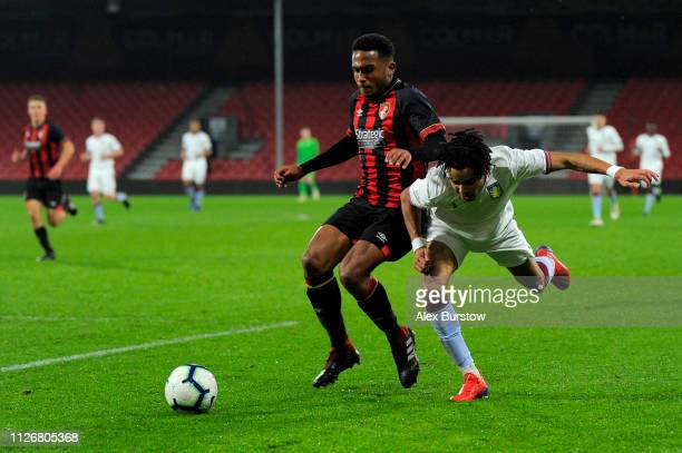 Harvey Bertrand of AFC Bournemouth battles for possession with Tyreik Wright of Aston Villa during the FA Youth Cup Fifth Round Match between AFC...