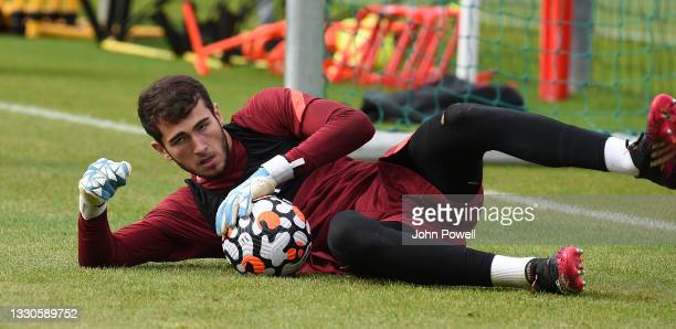 Harvey Davies of Liverpool during a training session on July 25, 2021 in UNSPECIFIED, Austria.