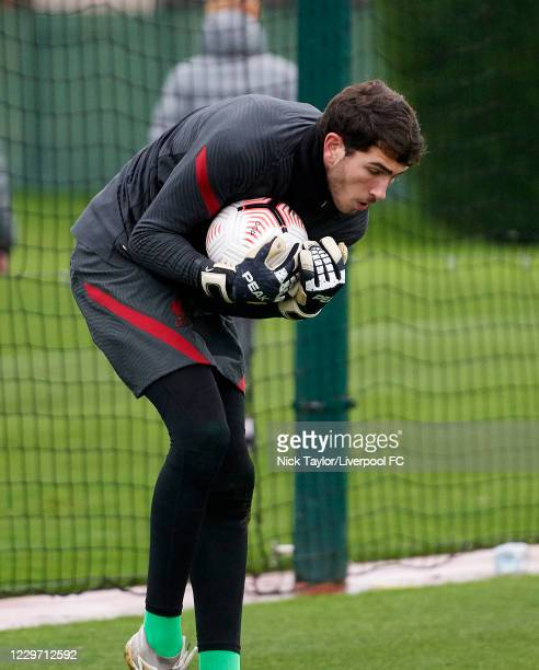 Harvey Davies of Liverpool during the warm up at Melwood Training Ground on November 21, 2020 in Liverpool, England.