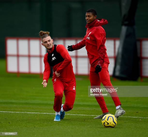 Harvey Elliott and Rhian Brewster of Liverpool during a training session at Melwood Training Ground on October 25 2019 in Liverpool England